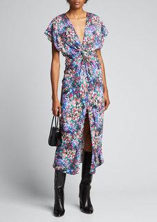 Prabal Gurung Floral-Print Deep-V Ruched Dress