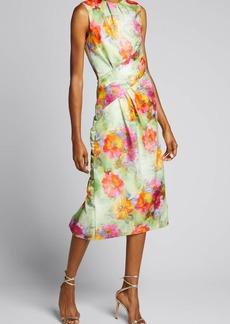 Prabal Gurung Floral Print Front Drape Dress