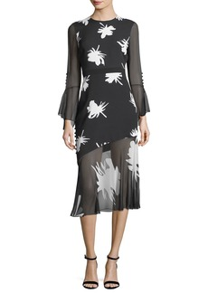 Prabal Gurung Floral-Print Long-Sleeve Midi Cocktail Dress