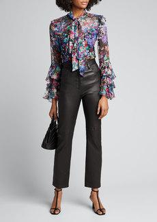 Prabal Gurung Floral-Print Silk Ruffle Tie-Neck Blouse