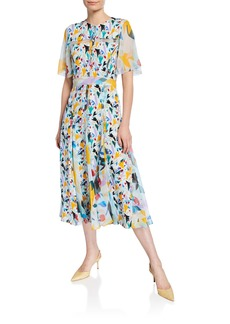 Prabal Gurung Flutter-Sleeve Floral-Print Chiffon Button-Front Dress
