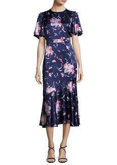 Prabal Gurung Flutter-Sleeve Floral Silk Satin Midi Dress
