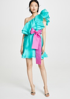 Prabal Gurung Giverny One Shoulder Ruffle Skirt Dress
