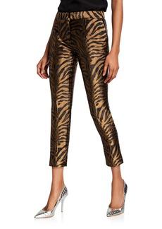 Prabal Gurung Golden Tiger-Jacquard Straight-Leg Pants