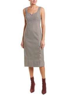 Prabal Gurung Houndstooth Silk-Lined Midi Dress