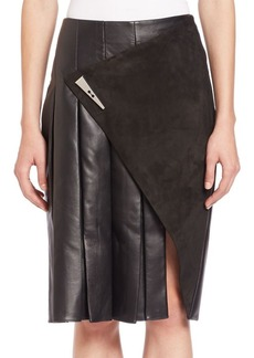 Prabal Gurung Leather & Suede Slit Skirt