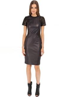 Prabal Gurung Leather Short Sleeve Dress