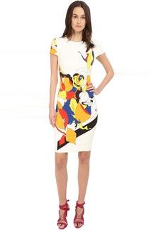 Prabal Gurung Multi Floral Lace Print Short Sleeve Dress