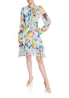 Prabal Gurung Mutli-Floral Tie-Neck Dress