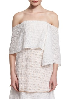 Prabal Gurung Off-The-Shoulder Fold-Over Tunic Blouse