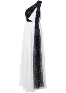 Prabal Gurung one shoulder pleated combo gown - White