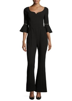 Prabal Gurung Pearly Bell-Cuff Flared Jumpsuit