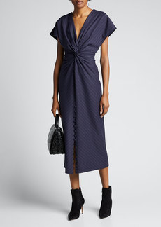 Prabal Gurung Pinstriped V-Neck Cocktail Dress
