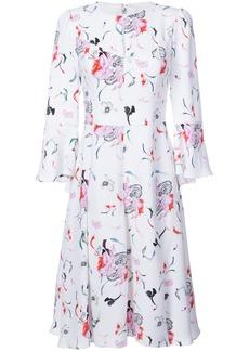 Prabal Gurung pleated skirt floral dress - White