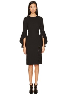 Prabal Gurung Poly Crepe Ruffle Sleeve Sheath Dress