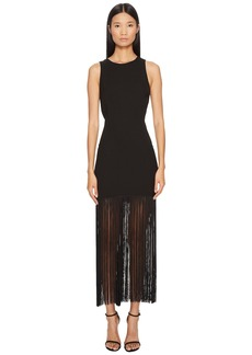 Prabal Gurung Polycrepe Sleeveless Fringe Dress