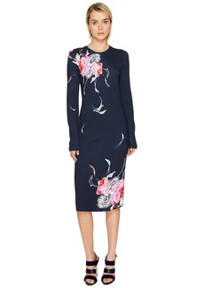 Prabal Gurung Printed Long Sleeve Viscose Knit Dress