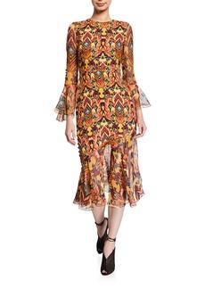 Prabal Gurung Rania Geometric Print 3/4-Sleeve Midi Dress