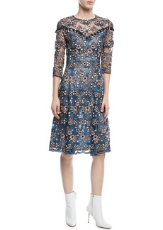 Prabal Gurung Round-Neck 3/4-Sleeve Floral-Lace Cocktail Dress