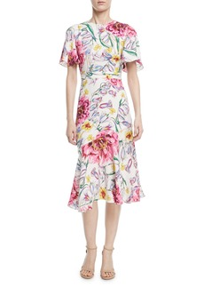 Prabal Gurung Round-Neck Short-Sleeve Floral-Print Dress