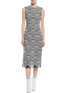Prabal Gurung Round-Neck Sleeveless Embroidered-Knit Sheath Midi Dress