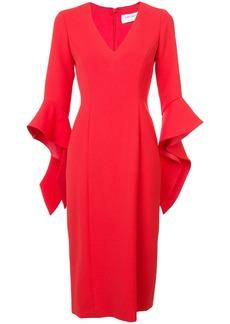 Prabal Gurung ruffle cuff V-neck dress - Red