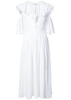 Prabal Gurung ruffled neck cold shoulder dress - White