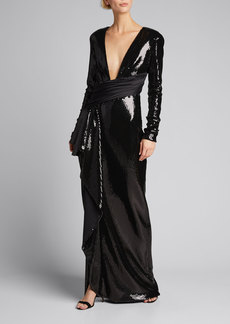 Prabal Gurung Sequin Plunge-Neck Long-Sleeve Cascading Front Gown
