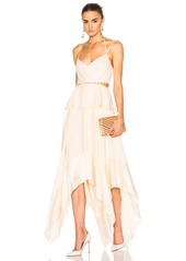 Prabal Gurung Silk Charmeuse Handkerchief Hem Dress