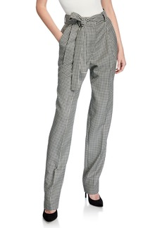 Prabal Gurung Simone Belted Houndstooth Trousers