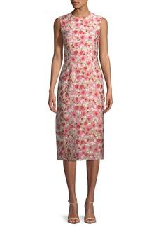 Prabal Gurung Sleeveless Jewel-Neck Floral-Matelassé Sheath Dress