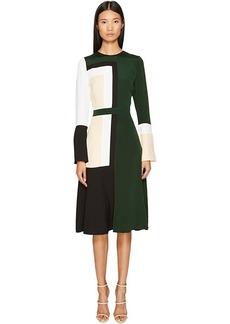 Prabal Gurung Stretch Viscose Crepe Color Block Long Sleeve Dress
