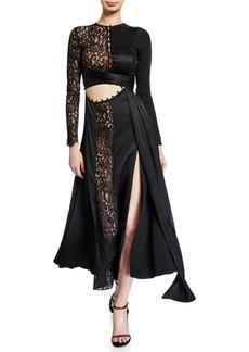 Prabal Gurung Taxila Long-Sleeve Lace Cutout Dress