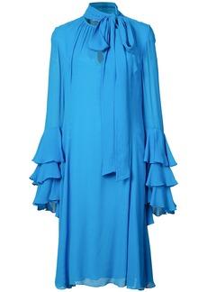 Prabal Gurung Tie Neck Ruffle Cuff dress - Blue