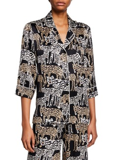 Prabal Gurung Tiger-Print 1/2-Sleeve Pajama Top
