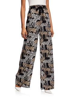 Prabal Gurung Tiger-Print Charmeuse Pajama Pants