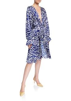 Prabal Gurung Tiger-Print Satin Tie-Waist Dress