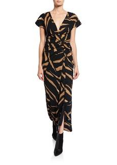 Prabal Gurung Tiger-Print Short-Sleeve Wrap Dress