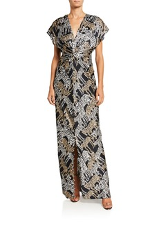 Prabal Gurung Tiger-Print Silk Ruched-Front Gown