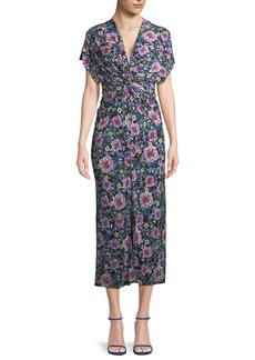 Prabal Gurung V-Neck Cap-Sleeve Twist-Waist Floral-Print Dress