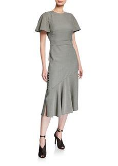 Prabal Gurung Victoria Gingham Flutter-Sleeve Dress