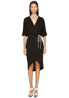 Prabal Gurung Wave Rib Jersey Dolman Sleeve Wrap Dress