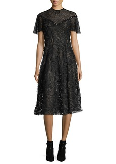 Prabal Gurung Wing-Sleeve Floral Lace Midi Dress