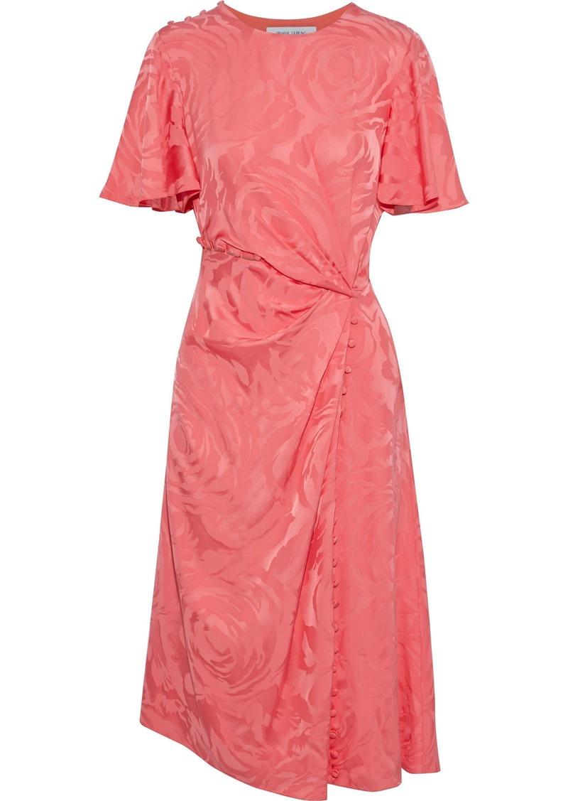 Prabal Gurung Woman Button-detailed Gathered Satin-jacquard Dress Coral