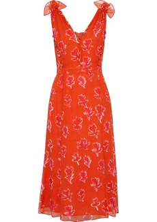Prabal Gurung Woman Button-detailed Printed Silk-georgette Dress Tomato Red