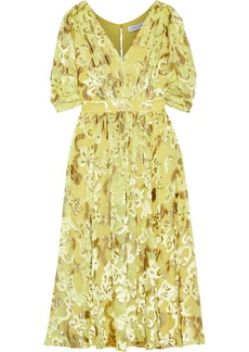 Prabal Gurung Woman Button-embellished Metallic Fil Coupé Chiffon Dress Yellow