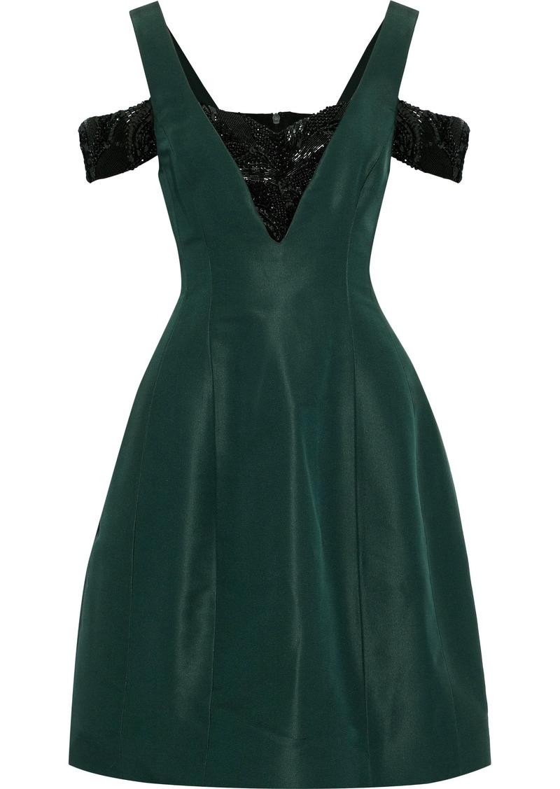 Prabal Gurung Woman Cold-shoulder Embellished Silk-faille Mini Dress Forest Green