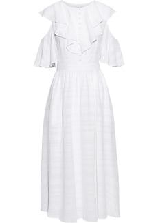 Prabal Gurung Woman Cold-shoulder Ruffled Embroidered Gauze Midi Dress White