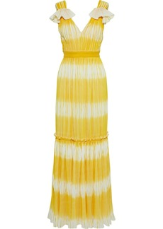 Prabal Gurung Woman Dégradé Plissé Crepe De Chine Gown Yellow