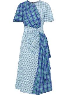 Prabal Gurung Woman Draped Checked Cotton Midi Dress Blue